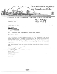 Trial Committee letter dated 1-13-16