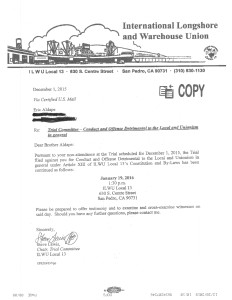 Trial Committee letter rescheduling hearing