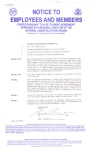 Local 23 NLRB posting signed by Larry Schwerin