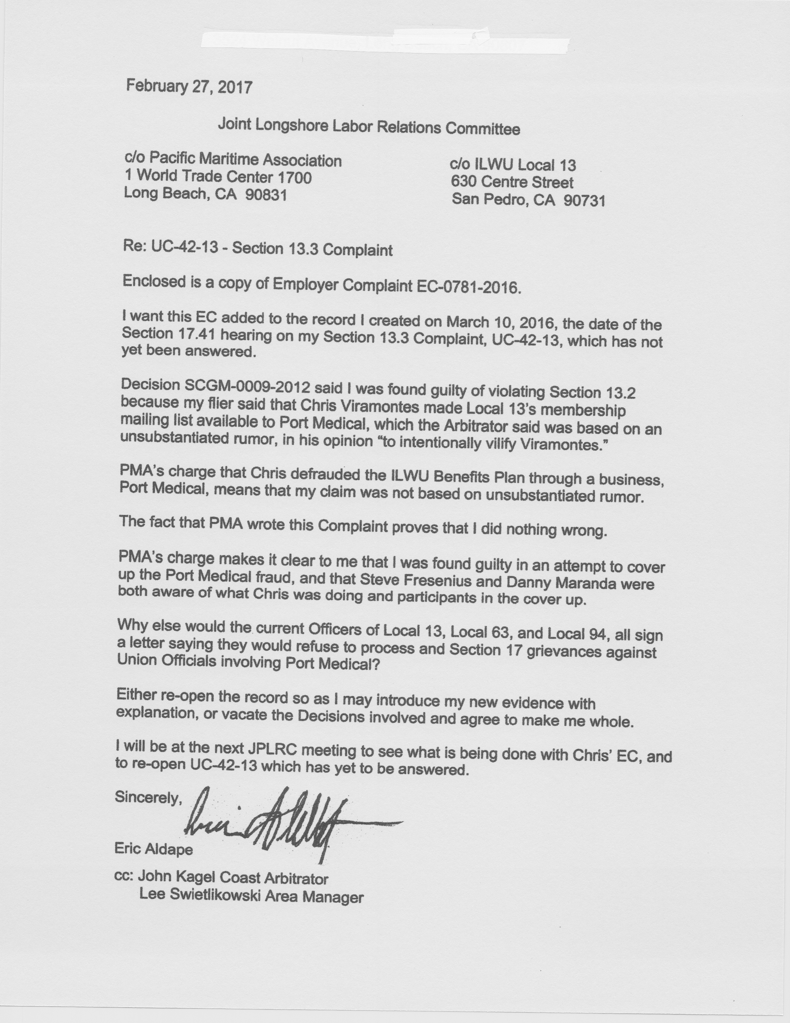 Longshore labor relations here is the letter eric sent to the jplrc upon receiving a copy of ec 0781 2016 expocarfo Images
